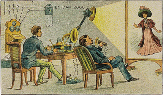 Video telephony predicted to be in use by the year 2000, as envisioned in 1910.